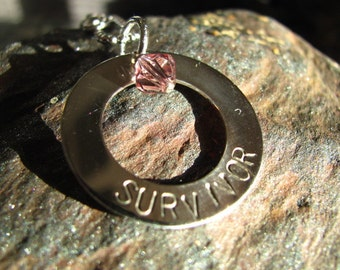SURVIVOR Sterling Silver Personalized Hand Stamped Necklace