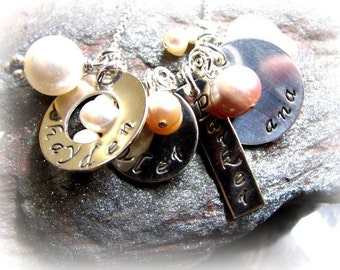 4 Sterling Silver Hand Stamped Discs with Mixed Pearls