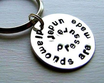 Sterling SIlver Hand Stamped Personalized Swirl Keychain