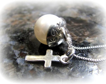 Personalized Sterling Silver Pearl Necklace with Cross - Personalized Jewelry