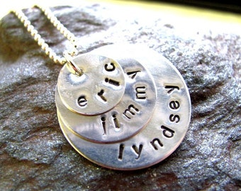 TRIPLE STACKED Sterling Silver Hand Stamped Personalized Necklace