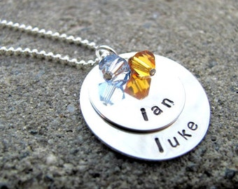 DOUBLE BIRTHSTONE Sterling Silver Hand Stamped Personalized Necklace