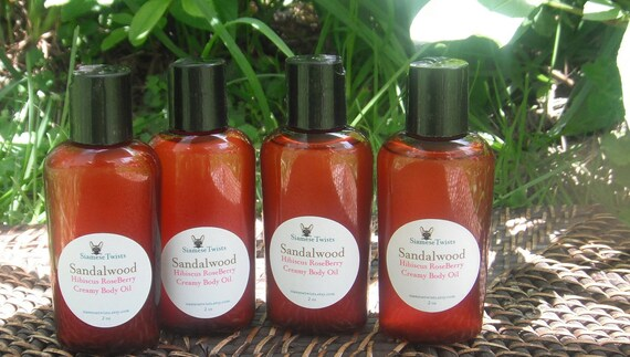 Sandalwood Hibiscus Roseberry Creamy Body Oil,body oil,scented massage oil