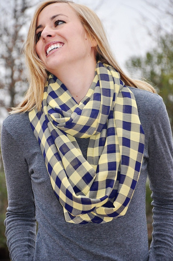 Infinity Scarf: Navy & Yellow Plaid