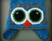 Crochet baby hat- Photograpahy prop- babies toddlers- bright colorful-Square crochet owl hat