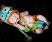 Crochet baby hat/Crochet diaper cover- Monster hat and diaper cover set/Photography prop- Choose your colors
