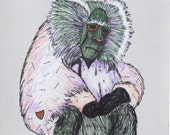 "Baboon Hand-Drawn Art Card in Gray, Pink, and Green (Blank Art Card). ""Bummed-Out Baboon."""