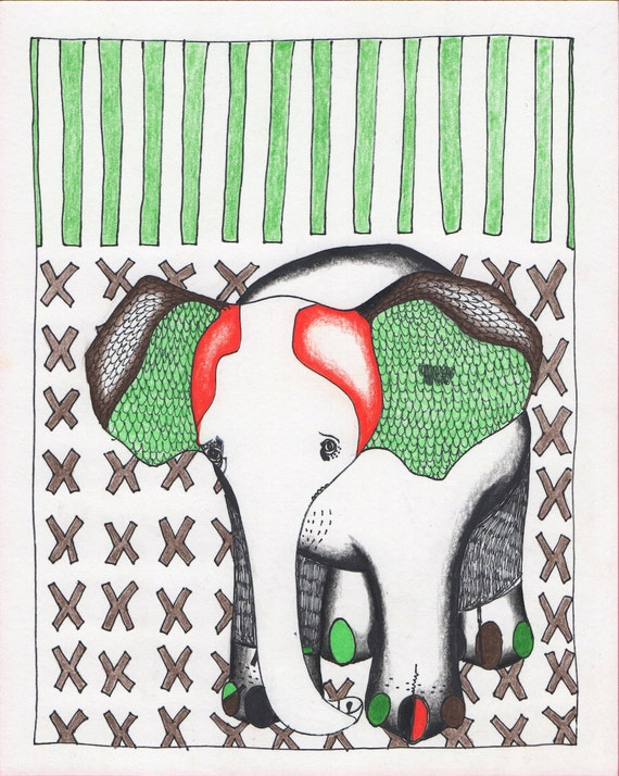 """Elephant on X's - Red and Green Animal Art - Illustration Print 8"""" x 10"""""""