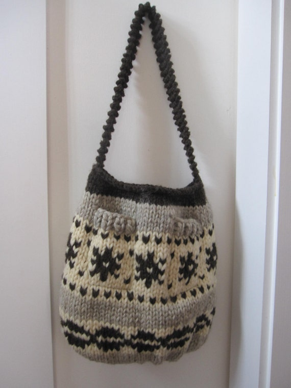 Cowichan pattern knitted tote