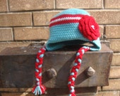 Crochet Earflap Hat, Child's - dusty robin's egg blue, red, white with flower
