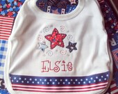 Personalized Fourth of July Bib - Stars & Stripes Patriotic Applique Design
