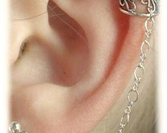 Filigree Ear Cuff to Post - Sterling Silver