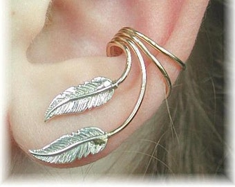 Ear Cuff - Graceful Feathers -  Sterling Silver and Gold Filled - PAIR