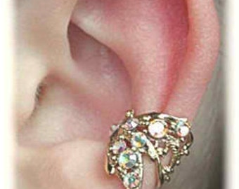 Butterfly Wing with Crystals Ear Cuff - SINGLE SIDE -Sterling Silver or 14K Gold Vermeil