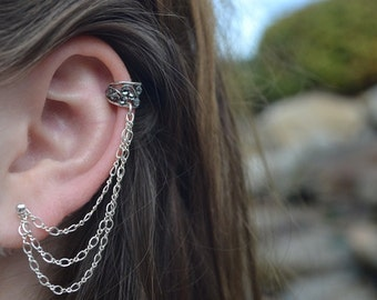 Crystalized Filigree Ear Cuff with Triple Chains to post.
