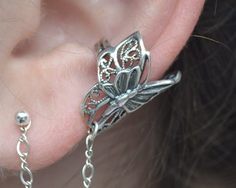 Butterfly Ear Cuff with Chain to Post