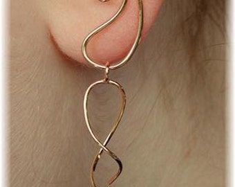 Ear Cuff - Ear Saver with Dangle - 14K Gold Filled or Sterling Silver