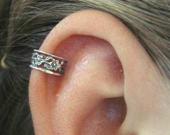 PIERCED - Floral Lace Cartilage Ear Cuff - Sterling Silver - SINGLE