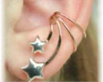 Stars Ear Cuff - 14K Gold Filled/Sterling Silver - SINGLE SIDE