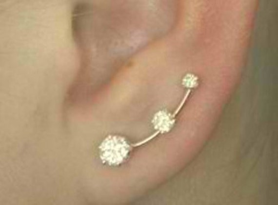 Earring Pin with  Three Cubic Zirconias - 14K Gold Filled or Sterling Silver