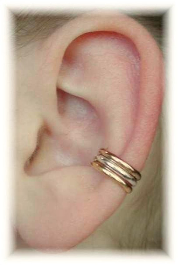 Three Bands Ear Cuff - Mixed Metals -  Sterling Silver and 14K Gold Filled