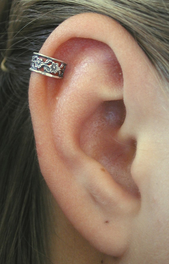 PIERCED Floral Lace Cartilage Ear Cuff Sterling Silver Ear Piercing Jewelry
