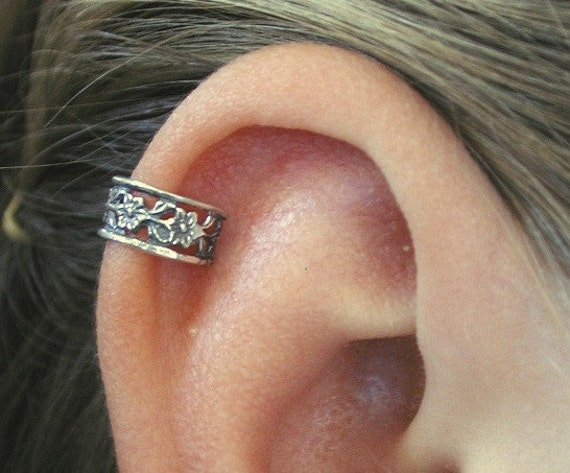 pierced floral lace cartilage ear cuff sterling silver