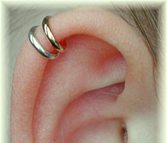 PIERCED -  Double Wrap Cartilage Ear Cuff -  Mixed Metal - Sterling Silver or 14K Gold Filled - SINGLE Side
