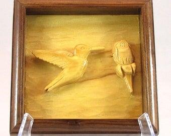 Relief Carving of a Hummingbird & Rose  - Handmade Walnut Frame