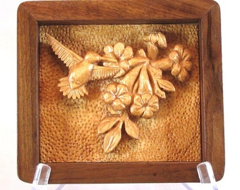 Relief Carving of a Hummingbird with Flowers  - Handmade Walnut Frame