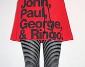 THE BEATLES Band Members Names Printed Red Mini Skorts - Made In USA.