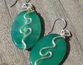 Green Agate Oval Triple Silver Swirl Earrings