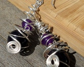 Purple Sardonyx and Amethyst Structural Silver Spiral Earrings