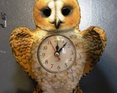 SALE Vintage Owl Clock
