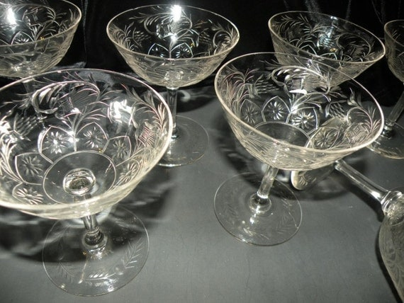 9 Finest Hand Blown Carved Cut Crystal Wine Glasses