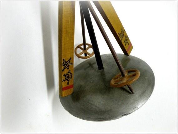 Reserved for Jeanette Vintage Ski Pillar Candle Holder