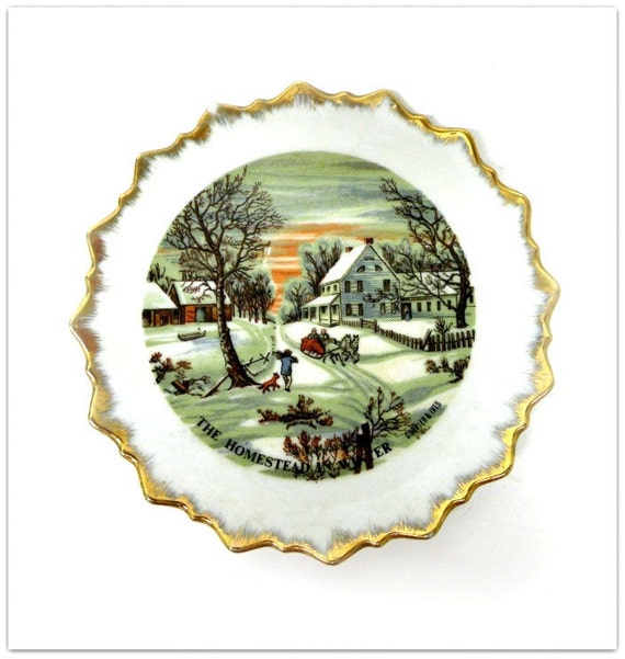 RESERVED for Laurence 4 Currier and Ives Wall Hanging Winter Scene Plate