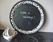 Decorative chalkboard message board menu board wedding chalkboard with zebra print border upcycled shabby chic