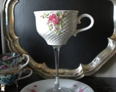 Vintage tea cup wine glass wedding wine glass  teacup wine glass repurposed upcycled pink flowers
