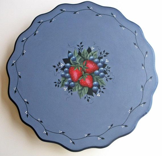 Lazy Susan / wood lazy susan / kitchen table centerpiece / hand painted strawberries and blueberries / Cottage chic / country home decor