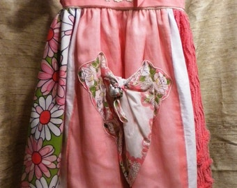 Vintage Linen Pink Themed Dress Size 2t to 3t