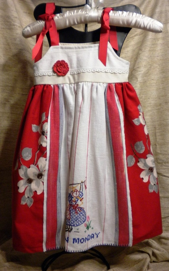 Vintage Linen Red Themed Dress Size 2t to 3t