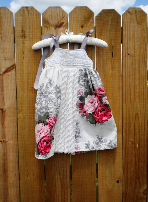 Vintage Linen Gray and White Dress Size 2t to 3t