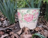 Vintage Planter Aurora Rose Style with Pink Roses and Shabby Blue Trim