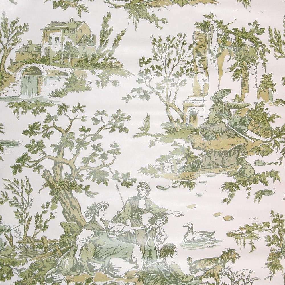 vintage green wallpaper french countryside toile