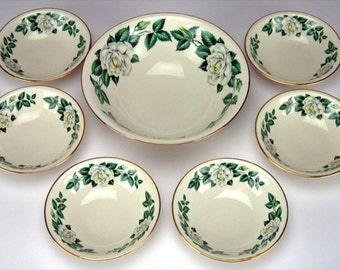 Vintage Homer Laughlin Magnolia Dessert Bowl Set 1950s Regal Dessertware