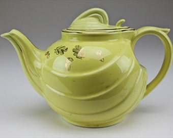 Vintage Hall China Teapot Yellow and Gold