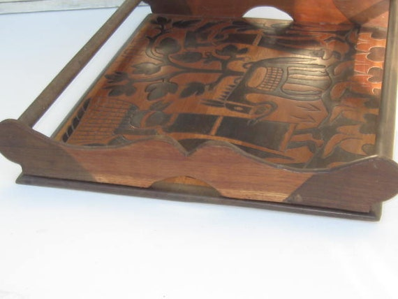 Vintage Wood Butlers Tray Two Tone Wood FolkArt Made in Haiti Serving Tray Cookie Tray Home Decor Farming Donkey Breakfast Tray