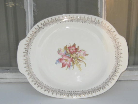 Vintage French Saxon China Platter 22k Gold