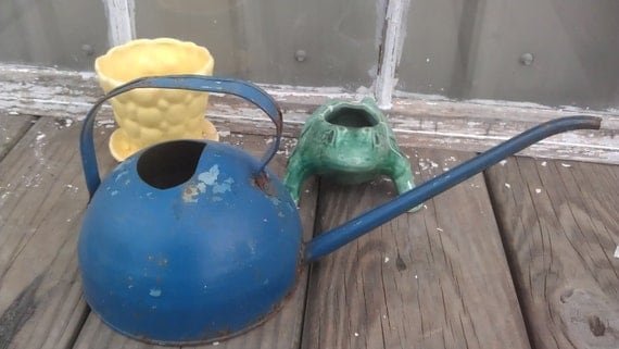 Vintage Blue Metal  Garden Watering Can